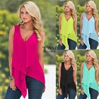 Womens Sleeveless Chiffon Vest Tank Tops Ladies Summer Casual Shirt Blouse TXSU