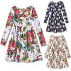 UK Kids Girls Floral Long Sleeve Skater Princess Prom Casual Paty Dress Age5-13Y