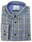 New Mens M&S Long Sleeve Grey Blue Check Pure Cotton Shirt Size 17.5""