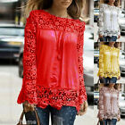 Women's Fashion Shoulder Long Sleeve Hollowed Chiffon Embroidery Lace Shirt Tops