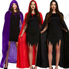 "LADIES MENS UNISEX VELVET 65"" LONG CAPE CLOAK HALLOWEEN FANCY DRESS COSTUME"