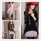 New Women Warm Autumn Winter Lace Long Sleeve Mini Knit Dress Casual Slim Tops