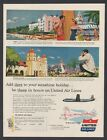 1954 United Air Lines Hawaii surfboard Southern California monk church travel ad