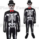 MENS DAY OF THE DEAD HALLOWEEN SKELETON SENOR FANCY DRESS COSTUME M L ADULT