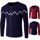 Hot Men's Slim Fit Sweaters Thick Warm Collar Spell Ccolor Cardigan Sweaters 263