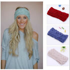 Lady Crochet Woolen knit Bow Knot Headband Warm Winter Hairband Headwrap Hat Cap