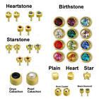 100% Genuine Caflon Blu Stud CZ Shape Stone Gold Plated Ear Piercing Earrings