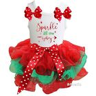 Xmas Red Green Petal Tutu & Sparkle All The Way White Tank Top Outfit