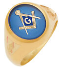 Customizable 10k or 14K Solid Back White or Yellow Gold Blue Lodge Mason Ring