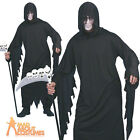 Adult Screamer Costume Grim Reaper Black Mens Halloween Fancy Dress Outfit New