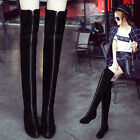 Womens Suede Leather Over Knee Thigh High Boots Hidden Wedge Low Heel Front Zip