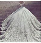 Luxury Embroidery Chapel Train White Lace Bridal Gowns Long Weddding Dresses