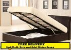 Gas Lift Storage Bed Double or Queen BLACK or WHITE Faux Leather