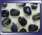 Sodalite faceted trapezoid drops 14x10mm blue white pendant bead top side drill