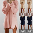 Womens Long Sleeve Loose Pullover Sweater Ladies Side Zip Knitted Jumper Dress