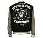 NFL Men's Oakland Raiders 3 Time Super Bowl Champions Wool Reversible Jacket
