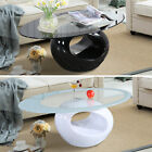 Modern High Gloss Glass Oval Coffee Table Living Room Furniture Black/White