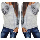 Fashion Womens Long Sleeve Shirt Casual Lace Blouse Loose Cotton Tops T Shirt UK