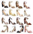 New Women's Ankle Strap Pumps Open Toe Chunky Block Party Sandal High Heels