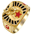 Solid Back 10k 14k Gold Masonic Shriner Ring *Free Mason Watch included*