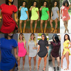 Fashion Women Short Sleeve Cotton Casual Loose Blouse Dress S-XXXXL Plus Size