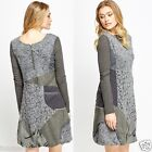 476 Womens Floral Patchwork Tunic Long Sleeve Midi Grey Dress Size S M L XL