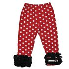 Girls Red Polka Dots Black Ruffle Icing Leggings Pants