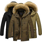 Fashion Mens Warm Down Cotton Jacket Fur Collar Thick Winter Hooded Coat Outwear