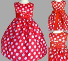 Polka Dot Dress Birthday Easter Costume Pin Up Toddler Cotton Infant Satin #13