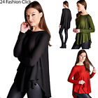 USA Women's Loose Fit Long Sleeve  Hi-Low Top Blouse Sweater Rounded hems.