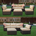 Antique Wicker Patio Sofa Law Furniture Set Sectional 5 Pcs outdoor Sunroom