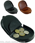 Mens Premium Quality Leather Coin Tray Horseshoe Purse Wallet in Black or Tan