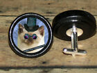 STEAMPUNK top hat goggles SIAMESE CAT Altered Art CUFF LINK or HAIR PIN pair Set