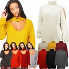 Womens Cutout Shoulder & Choker VNeck Metallic Shiny Knitted Jumper Sweater