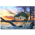 Bass Fishing Art Poster Print
