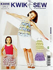 KWIK SEW PATTERN HALTER TOP & SKIRT BOTH RUFFLY GIRLS' SIZE XS-S-M-L-XL # K3698