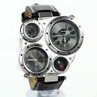 fashion cool dual time leather strap men high quality military steel army design