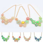 New Fashion Charm Bright Resin Leaf Drop Crystal Flower Statement Necklace