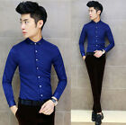 Slim Fit Men's Handsome Solid Long Sleeve Soft Fashion Casual Tops Dress Shirts