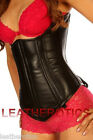 Leather corset underbust back lacing cincher top 1224