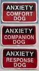 ANXIETY COMPANION, COMFORT OR RESPONSE DOG  service dog vest patch 2x4
