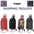 Hoppa Folding Wheeled Shopper 2 Wheel 47L Shopping Trolley Cart Bag Lightweight