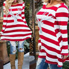 Women Girls Stripe Swing Dress Christmas Elk Long Sleeve Tube Mini Dress Skater