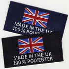 Woven Garment Labels Made in The UK 100% Polyester 25mm x 50mm, Pack of 10
