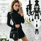 Women Long Sleeve Bodycon Casual Party Evening Cocktail Short Mini Club Dress