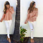 Fashion Sexy Women Cotton Blouse Off Shoulder Long Sleeve Casual Shirt Tops