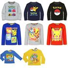 New boys officially licensed Pokemon long sleeve t-shirts crew neck cotton bnwt