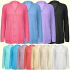 Womens Ladies 5 Buttons 2 Pockets Chunky Cable Knit Cardigan Grandad Jumper