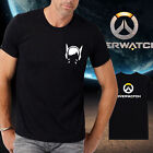 Men new cotton OW overwatch logo DVA Black Tshirt Crew Neck Short Sleeve tee
