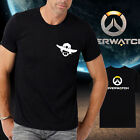 Men new cotton OW overwatch logo Mccree Black Tshirt Crew Neck Short Sleeve tee
